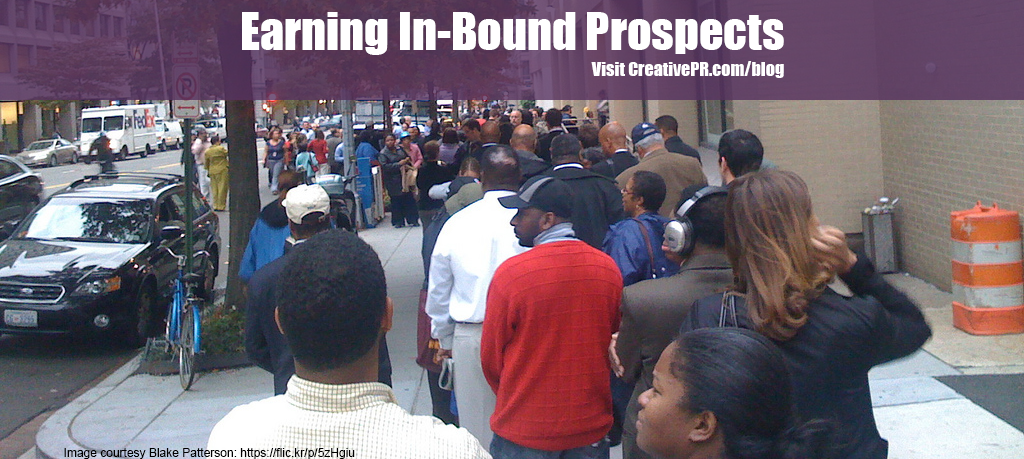 Photo of people standing in line for Earning In-Bound Prospects article
