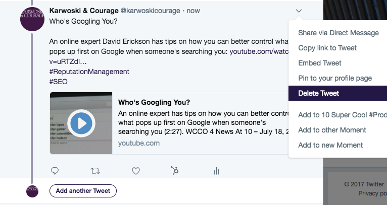 Screenshot: Karwoski & Courage - Tweetstorm - Delete And Add Tweets